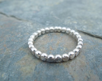 Sterling Silver Stacking Ring, Silver Bead Ring