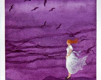 Watercolor painting original girl purple watercolor art illustration wall decor by VApinx