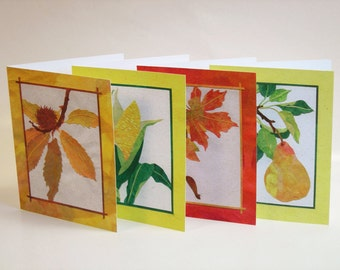8 Fall Cards, Thanksgiving Card Set, Autumn Stationery, Collage Art Cards