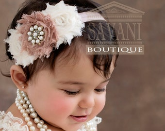 baby headband, ivory baby headband,CHOOSE COLOR, shabby chic headband, newborn headbands, photo props , baby gift