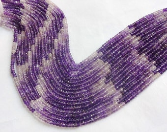 Gorgeous AAA quality Amethyst shaded micro faceted beads size 3,5mm sold per 14-inch strand