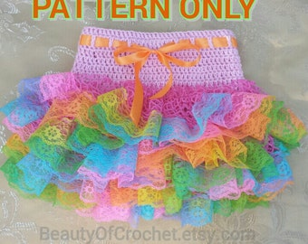 Crochet baby toddler ruffle skirt  little girl tutu lace skirt.   Digital pattern.