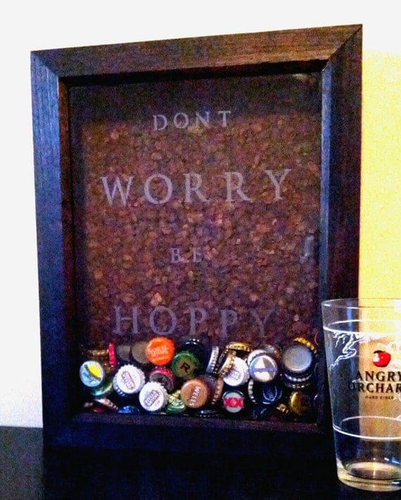 Items similar to etched beer cap collector shadow box for Craft beer typography beer cap shadow box beer cap collector