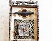 Assemblage Art, Mixed Media Box, hastypearl, Polymer Shadow Box, Black Amber Beige Original Assemblage, Home Decor Collage Art Shrine,
