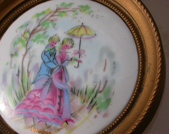 French vintage Signed limoge ceramic handpainted painting miniature couple romantic gold signature wall decoration