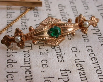 2pcs French antique gold brooch white pearl  gold ornate brooch art deco art nouveau style emerald green crystal
