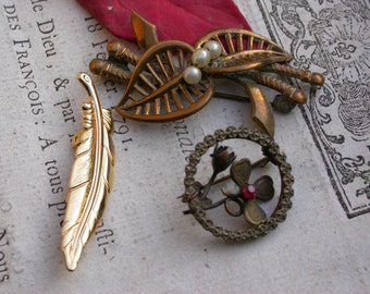 3pcs french large gold bronze  brooch antique bronze flower pearl knife feather brooch