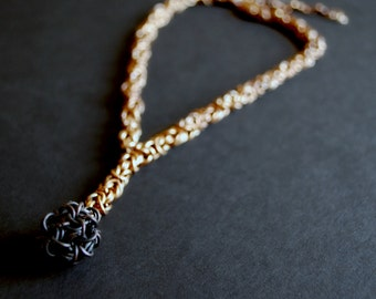 Chainmaille Necklace in Bronze with Oxidized Copper Japanese Ball