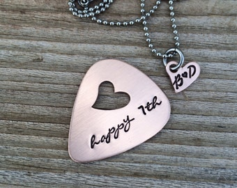 hand stamped Guitar pick copper 7 year anniversary gift his and her gift heart necklace jewelry