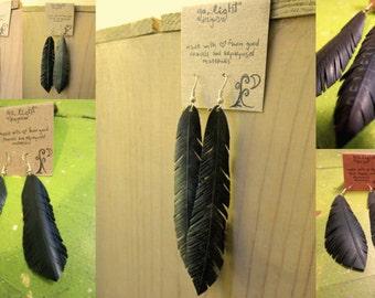 Bike tube feather earrings - CUSTOM MADE to order