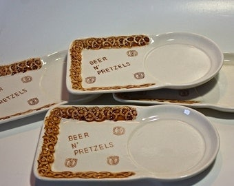 Vintage Ceramic Beer n' Pretzel Snack Trays