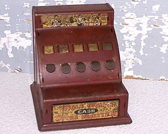 Cash Register Red Metal Toy Uncle Sam's Cash Store Register Antique VIntage Collectible Toy Tin Bank Childrens Room Decor Collectible