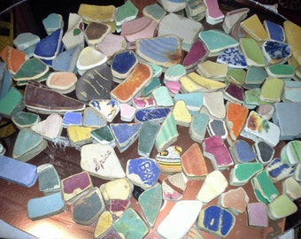 100ct Assorted Colors & Sizes 100% Genuine Ocean Tumbled Sea Glass Pottery Tiles from the Monterey Bay