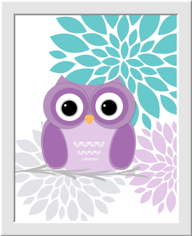 Baby Girl Owl Nursery Wall Art Purple Lavender Teal Flower