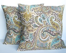 Two paisley printed  pillow covers, cushion, 18x18, decorative throw pillow, decorative pillow, nursery decor