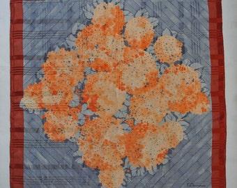 100 KAWAMURA Abstract Floral Silk Scarf 37
