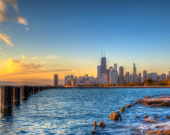 Sunrise at Fullerton Beach #1 - Chicago - Fullerton Beach - Sunrise - Cityscaping - HDR