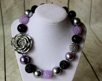 Purple black silver necklace for girls. Girl Chunky bead necklace. Bubblegum beaded necklace with silver flower. Birthday Christmas present.