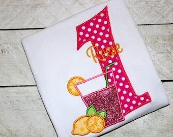 lemonade birthday top pink lemonade birthday shirt birthday number hot pink and yellow applique top polka dot birthday first birthday outfit