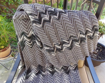 Afghan in shades of gray and black-READY TO SHIP