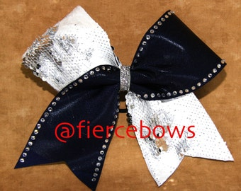 Silver and White Reversible with Navy Cheer Bow