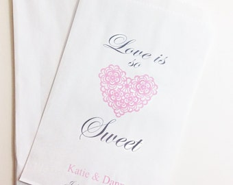 Love Is So Sweet Candy Buffet Favor Bags, Wedding Candy Bar Bags, Treat Bag, Lolly Bags