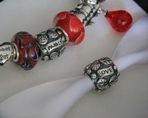 1piece - Bead Sterling Silver 925 LOVE and FAMILY Charms Beads, Pandora bracelet