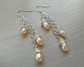 Peach Pearl Waterfall Earrings, Peach Cultured Pearls, Long length drops, Peach and Silver, Silver plated chain