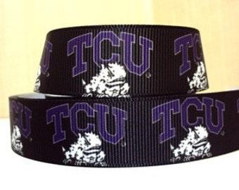 "TCU Horned Frogs 7/8"" Grosgrain Craft Ribbon - 3 Yards"
