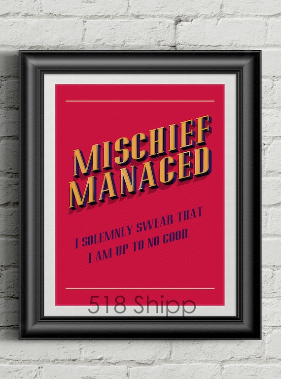Harry Potter Mischief Managed Inspirational Quote Wall Decor Typography Print Motivational Poster