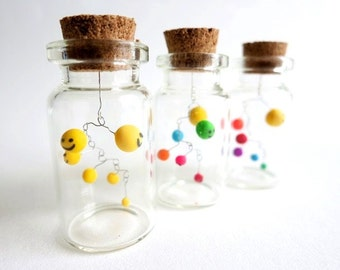 Miniature Mobile Kinetic Sculpture Mobile Smiley in Bottle Desk Object Table Top Decor Happy Mobile Tiny Smile Gift  Mobile Colorful Smiley