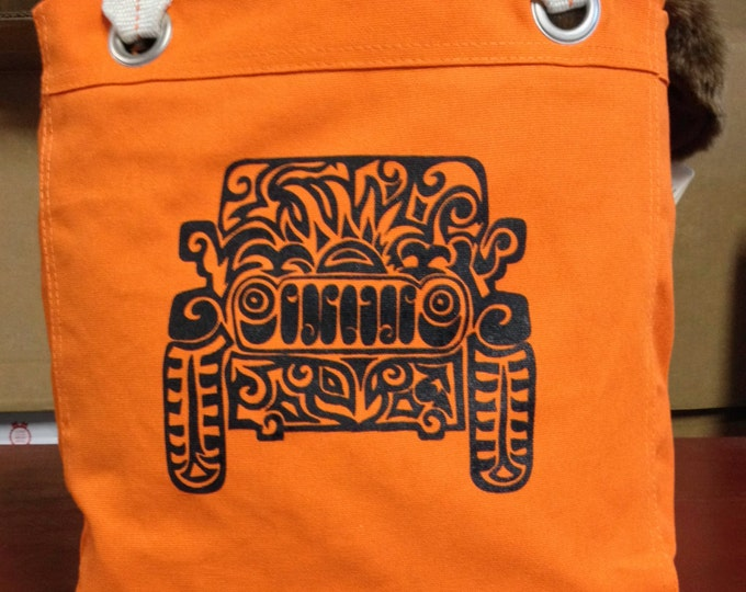 Featured listing image: Jeep Tribal Tattoo Design Bright Colored Allie Tote Bag-  Screen Printed Original Design