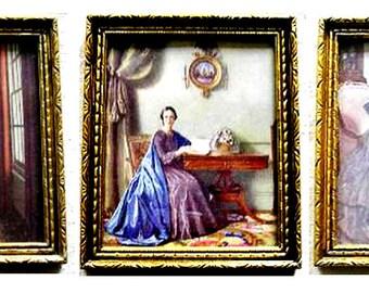 3 Interiors Victorian ladies interior scenes gold framed prints mid century home decor Jane Austen Bronte ladies British art from England