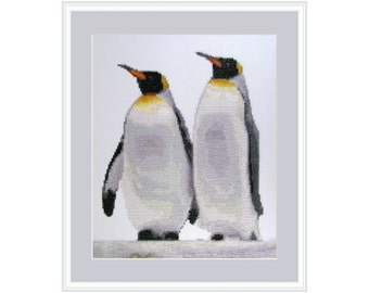 Warm Together, cross stitch kit penguin, king penguin couple