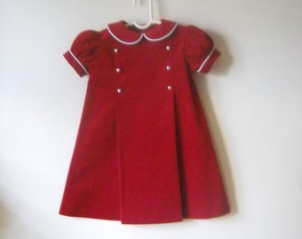 Corduroy Red Girls Dress with Pleats