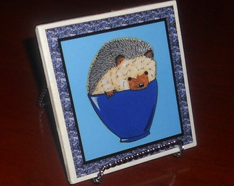 Hedgehog coaster (choice of blue, green, purple or pink background)made to order