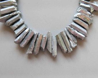 Full Strand Natural Raw Crystal Quartz Point Beads Silver Titanium Quartz B289