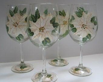 White & Gold Elegant Pointsettia Original Design,  Hand Painted Wine Glasses, Green Leaves, Gold Trim, Set of Four