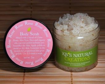 Rose Body Scrub - Beautiful Subtle Smell from the Essential Oil. China and European Herbs grounded With Dead Sea Salt. Amazingly Beautiful