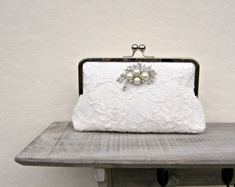 Lace bridal clutch bag, ivory wedding clutch, pearl and rhinestone cream clutch, off white clutch, bridesmaid clutch, clutch purse uk seller