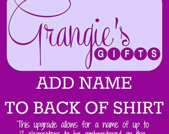 UPGRADE:  Add a Name to the Back of a Shirt