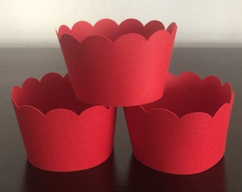 12 Cupcake Wrappers - Red