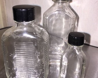 Set of Three Vintage Glass Apothecary Bottles