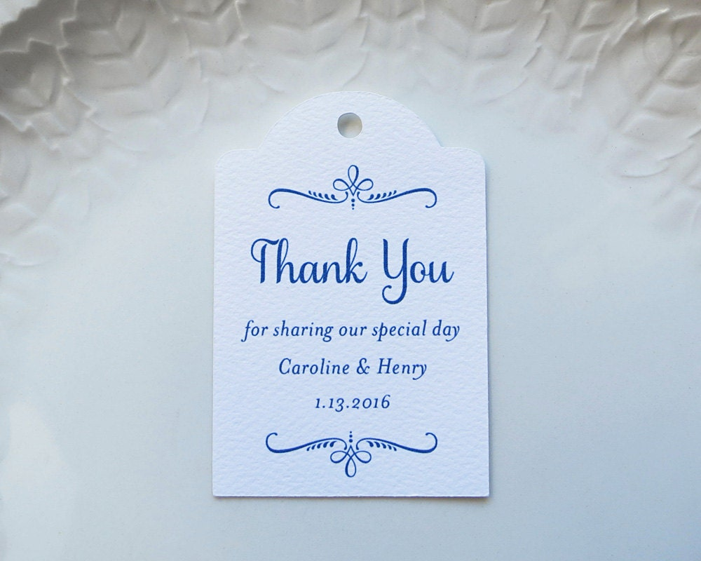 Navy Blue Wedding Favor Tag Personalized Gift Tags or Baptism