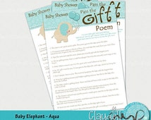 baby elephant aqua pass the gift poem baby shower game card 300