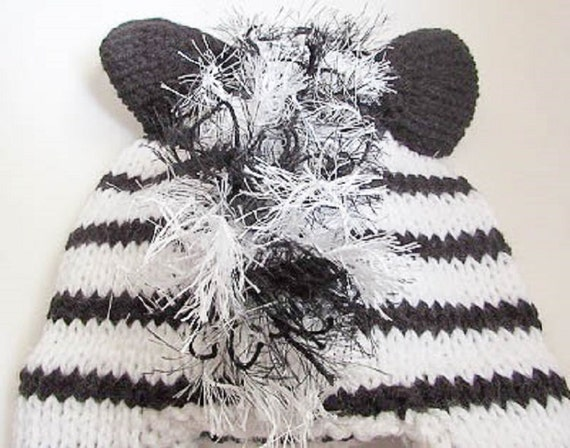 Knitting Pattern For Zebra Hat : Knitting Pattern Zebra Hat Horse Hat Character Hat Animal Hat Beanie Hat Nove...