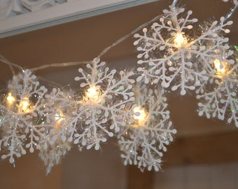 Snowflake 10 led fairy string lights christmas decoration frozen party birthday gift battery clear cable