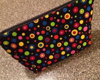 Makeup bag - black polka dot fabric - lined makeup bag, cosmetic bag