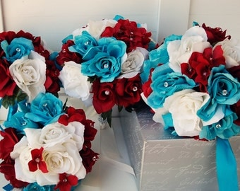 12 Pc wedding silk flower package-Casacade and round bouquets boutonniere corsage set. Turquoise,Apple Red&White