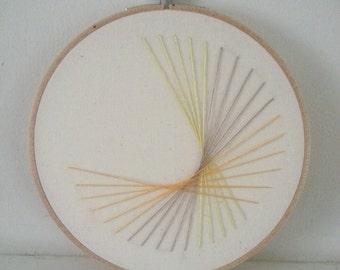 Handmade embroidery hoop art - Stream lines n.02. Modern handmade embroidery. Wall art.